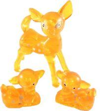 Fawns Deer Lucite Acrylic Figurine Orange Made in Hong Kong Set of 3 Vintage