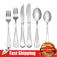 24-Piece Flatware Cutlery Set Reflective Silver Stainless Steel Silverware set