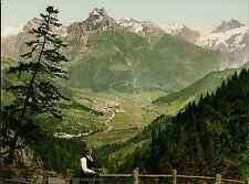 Unterwalden. Engelberg von der Arni-Alpe.   PZ vintage photochromie, photochrom
