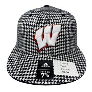 Adidas UNIVERSITY OF WISCONSIN Hounds Tooth Black White Fitted Hat Cap 7 3/8