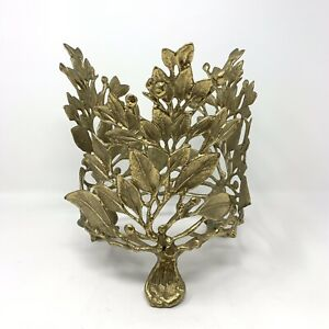 Vintage Solid Brass 3 Legged Leaf Cutout Round Plant Stand