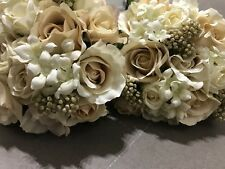 Bridal flowers, 3 beautiful silk bridesmaids bouquets in neutral colour tones