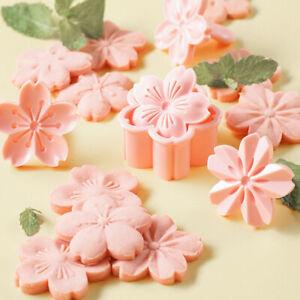 5pcs/set Sakura Cookie Mold Stamp Biscuit Mold Cutter Pink Fondant Baking T U OH