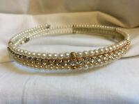 VINTAGE 3 Strand Faux Pearl & Diamante Rhinestone Collar Necklace Choker #9