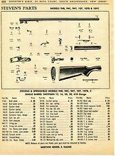 1963 Print Ad of Stevens Model 94B 94C 94Y 107 107B 107C Shotgun Parts List
