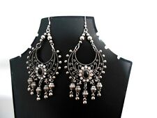 Crystal and Silver Boho/Tribal Chandelier Statement Earrings