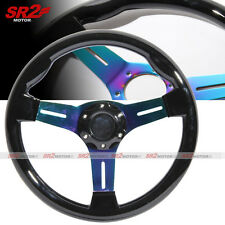 Universal 350mm Black Wood Grain Neo Chrome Titanium 3 Spokes Steering Wheel