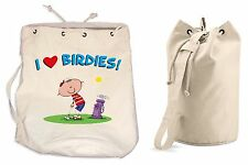 I LOVE BIRDIES DUFFLE BAG - Golfing Golf Gift Present College Rucksack Sports