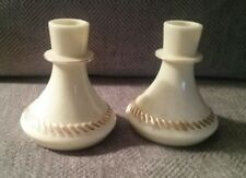 Vintage Pair Custard Glass Wheaton Ware Candle Holders Gold Trim 1970's