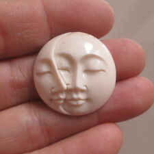 Double Moon Face Pendant in 25 mm Buffalo Bone Carving with Hole on Back Side 06