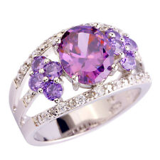 Oval Amethyst Purple White Gemstone Fashion AAA Silver Ring Size 10 Free Ship