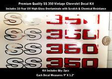 "SS 350 Chevelle Camaro Decal Kit 2pcs Chrome Hood Scoop 9"" long Laminated 0191"
