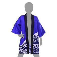 Men's Long HAPPI Coat HOKUSAI WAVE Blue L. LL Cotton Yukata Kimono Adult Man FS