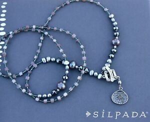 """Silpada toggle 34"""" NECKLACE N1784 hematite PEARL glass SHELL Lariat 925 sterling"""
