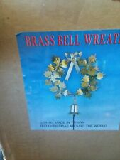 "Vintage Brass Holly Wreath w/ Bell Decoration  -  10"" Tall"