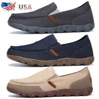 Men's Minimalism Driving Loafers Canvas Breathable Slip On Penny Shoes Casual G