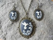 HUMMINGBIRD (BLACK) CAMEO BRONZE NECKLACE AND EARRINGS SET-- GIFTS!!