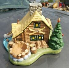 Retired Partylite Gone Fishin' Tealight Cabin with Canoe Woodland Animals P7305
