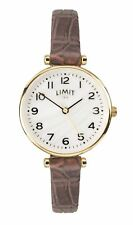 Limit Ladies Gold Tone Watch Pearlescent Dial & Brown Strap 6495