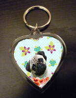 Pug Keyring Pugs Key Rings Gift Fawn Pug Dog pretty heart Xmas Mothers Day Gift