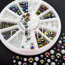 Black Iridescent Pearl & White Half Round Pearl 3D Nail Art Decoration NU-076