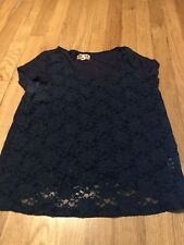 Mudd Junior Women's Dark Blue Lace Glitter Top Size Medium
