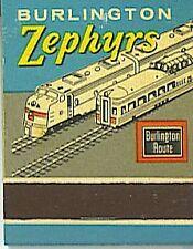 Vintage Burlington Route Railroad ZEPHYRS MATCHBOOK Sign of Dependable Freight