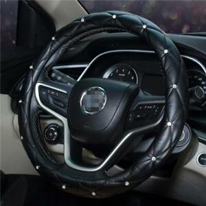"15"" LEATHER CAR VAN STEERING WHEEL COVER GLOVE PU LEATHER Crystal Diamond"