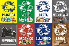 8 ETICHETTE ADESIVE RACCOLTA DIFFERENZIATA RIFIUTI CONTENITORE PATTUMIERA CASA