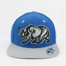 Big Bear California Angry bear snapback Cali Blue and Grey Hats