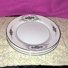 4 Gildhar Ltd Elsinore Fine Porcelain China Salad Plates Gray Roses Silver Trim