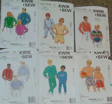 Kwik Sew 6 Sewing Pattern Lot - Mens Boys Sportswear Pajamas Swimwear - Uc -
