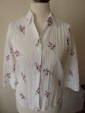 Damen Bluse - Größe 40 - 3/4 Arm - pink weiß mit Blüten - Crash Look