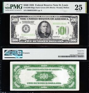 """Awesome RARE Bold & Crisp VF+ 1928 $500 bill St. Louis """"GOLD CLAUSE"""" FRN! PMG 25"""
