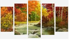 Colourful Autumn Stream Forest Art Painting 5 Split Panel Canvas Pictures 28x40""