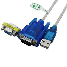3Ft Translucent USB 2.0 to DB9 RS232 Serial COM+DB9 F-F Convertor Adapter cable