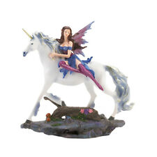 Mythical Fairy And White Unicorn Statue Sculpture Figurine