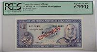 1978 Tonga 10 Pa'anga Specimen Note SCWPM# 22b-CS1 PCGS 67 PPQ Superb Gem New