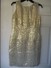 Vintage Women's Holiday Cocktail Party Dress Sheath Size M  Gold Sequins  1960s