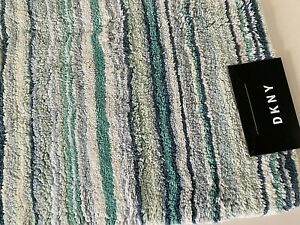 NEW DKNY Bathroom Rug Mat Blue Aqua White Stripes 21 x 32 Medium Size Extra Soft