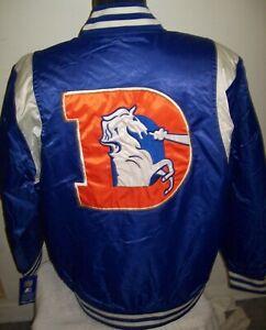 DENVER BRONCOS Throwback STARTER Jacket M LG XL 2X BLUE & SILVER