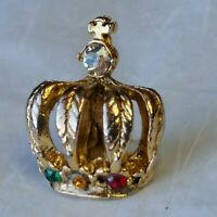 Gold Color Crown Lapel Hat Jacket Pin With Faux Diamond Ruby Topaz & Emerald