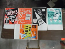 c.1950 Territory Band Ballroom Music Poster Lot 5 Vintage Polka Jazz Mid-Century