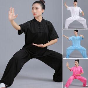 Chinese Kung Fu Taichi Martial Arts Uniform Suit T-Shirt Pants Set Men Women Hot