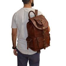 Genuine Goat Brown Leather Rucksack Backpack Luggage Hiking Camping Travel Bag