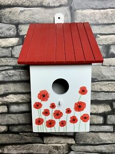 Bird House Nesting Box - Poppy flower wall with matching poppy red roof