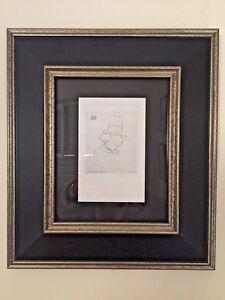 """Original 1862 Edouard Manet Etching """"Baudelaire de Profil en Chapeau"""" Framed"""
