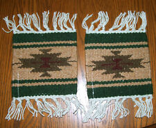 "2 Coasters Table Rugs 6x6"" Handwoven Wool Absorbent Southwest Fringed New #55"