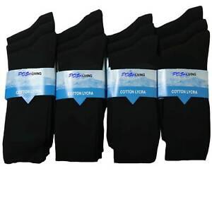 12 Pairs Men's Plain Black Cotton Rich Luxury Casual Soft Socks, Size UK 6-11