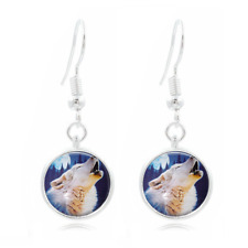 Wolf Moon Photo Tibet Silver Dome Photo 16MM Glass Cabochon Long Earrings #195